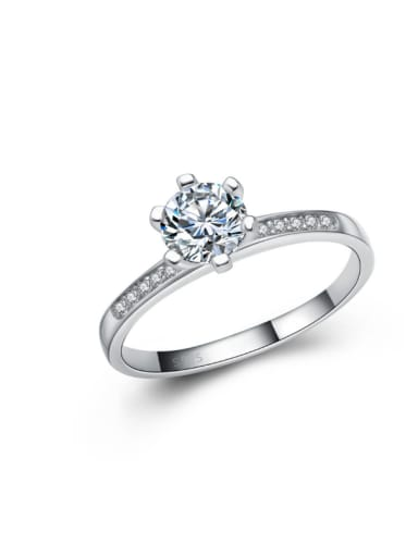 Simple Style Classical Shinning Zircon Ring