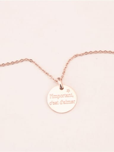 Round Pendant Rose Gold Plated Necklace