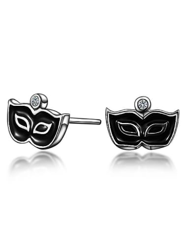 Personalized Black Tiny Mask 925 Sterling Silver Stud Earrings