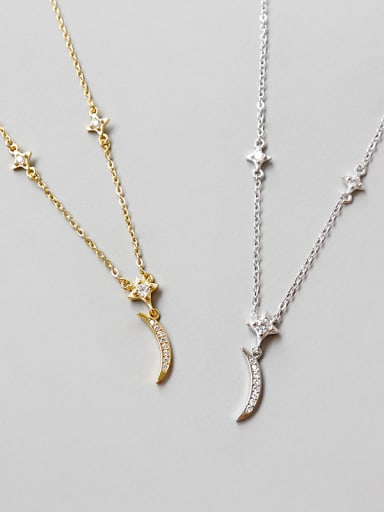 925 Sterling Silver With Cubic Zirconia Trendy Moon star Necklaces