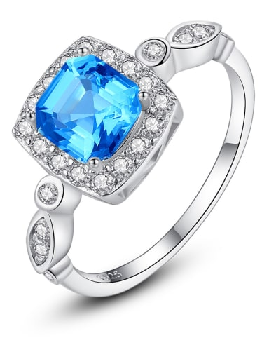 925 Sterling Silver With Cubic Zirconia Personality Square Band Rings
