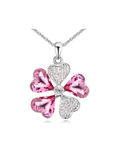 Shiny Heart Swarovski Crystals Flower Pendant Alloy Necklace