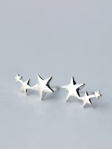 S925 Silver Smooth Star Stud cuff earring