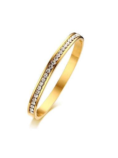 Exquisite Gold Plated Shining Rhinestone Titanium Bangle