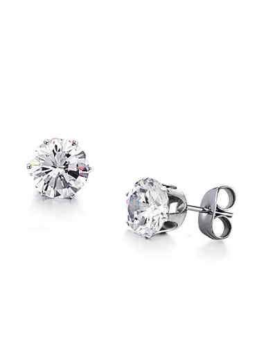 Simple Shiny Rhinestone Titanium Women Stud Earrings