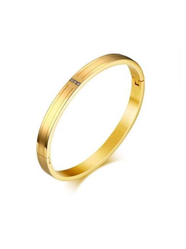 All-match Gold Plated Three Zircon Design Titanium Bangle