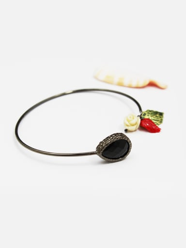 Retro Flower Shaped Glass Open Design Bangle