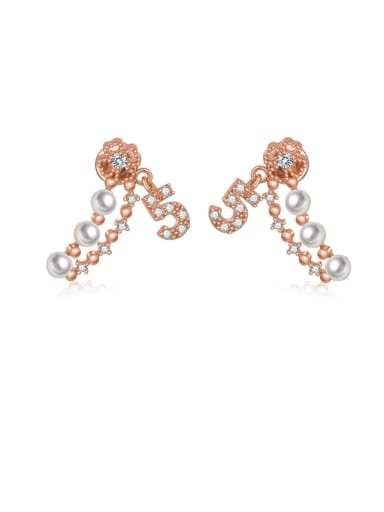 Copper With Artificial Pearl Personality Monogrammed Drop Earrings