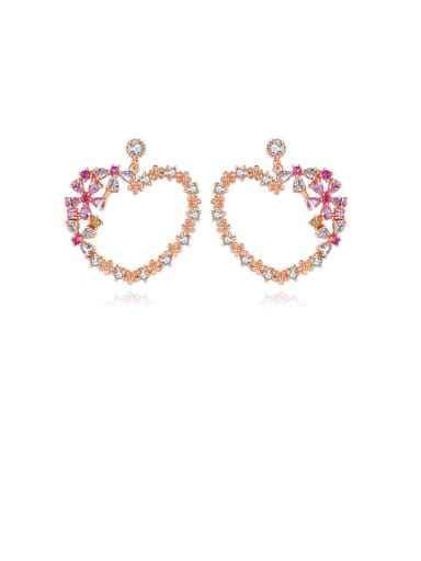 Copper With Cubic Zirconia  Simplistic Heart Chandelier Earrings