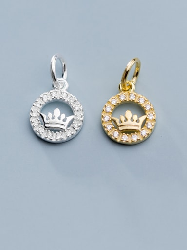 925 Sterling Silver With Cubic Zirconia  Personality Round Crown Charms