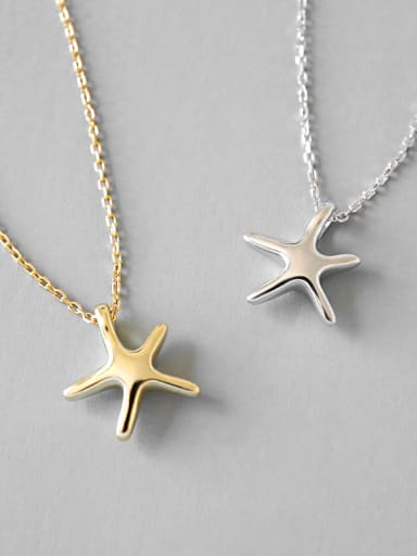 Sterling Silver simple starfish silver gold necklace two color optional