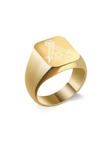 Titanium Freemason Logo Square Signet Ring