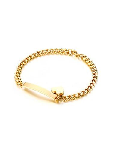 Exquisite Gold Plated Heart Shaped Titanium Bracelet