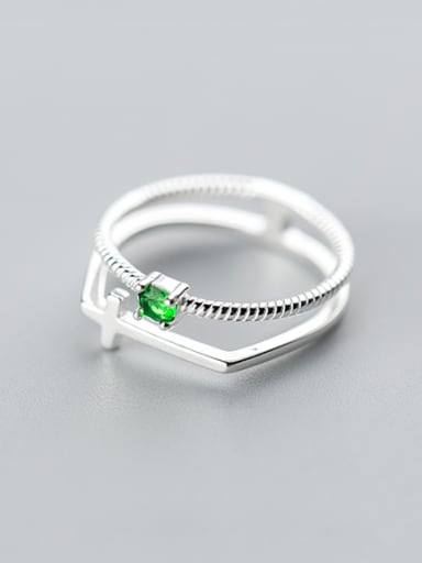 Fashion Cross Shaped Double Layer Green Rhinestone S925 Silver Ring