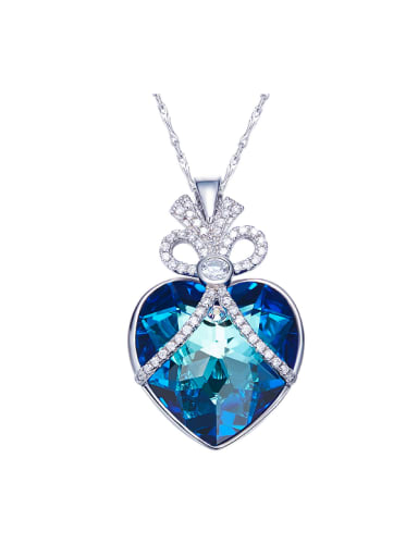 2018 Blue Heart Shaped Necklace
