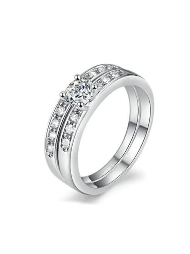 White Gold Plated Shining Zircons Wedding Ring