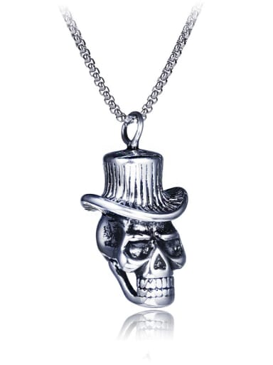 Stainless Steel With Antique Silver Plated Trendy Skull Necklaces