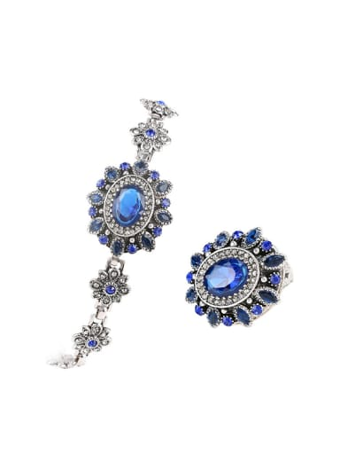 Ethnic style Sapphire Crystals White Rhinestones Flowery Two Pieces Jewelry Set