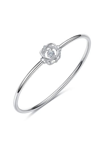 Fashion Cubic Rotational Zircon Hearts 925 Silver Bangle