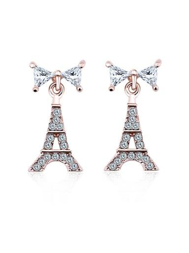 18K Rose Gold Eiffel Tower-shaped Zircon Chandelier earring