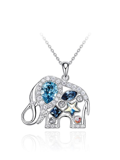 Fashion Shiny Swarovski Crystals 925 Silver Little Elephant Pendant