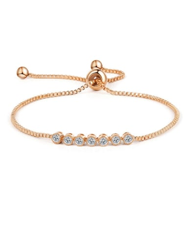 Copper With  Cubic Zirconia  Simplistic Round adjustable Bracelets