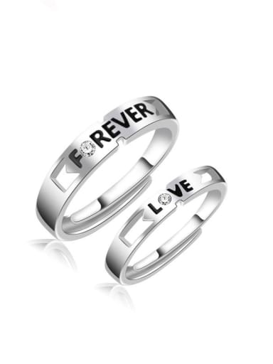 925 Sterling Silver With  Enamel Simplistic Monogrammed Lovers  Free Size Rings