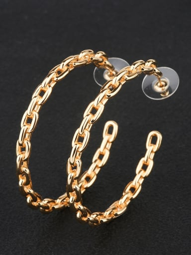 Copper With Gold Plated Fashion Round Hoop Earrings