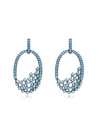 Retro style Tiny Turquoise Stones Hollow Stud Earrings