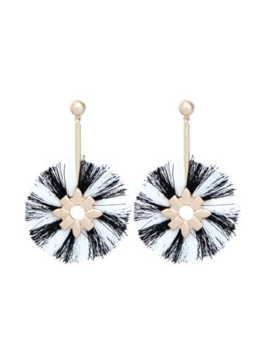 Retro Style Temperament Round Shaped Women Drop Earrings