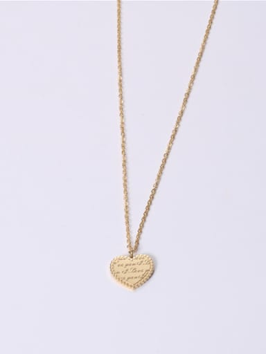 Titanium With Gold Plated Simplistic Heart Monogram Necklaces