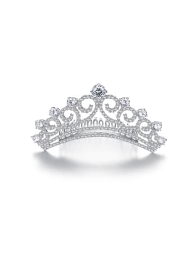 Copper inlaid AAA zircon classic crown bride hair accessories