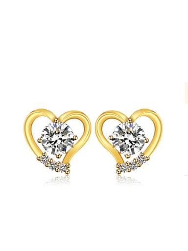 Copper Alloy 24K Gold Plated Fashion Heart-shaped Zircon stud Earring