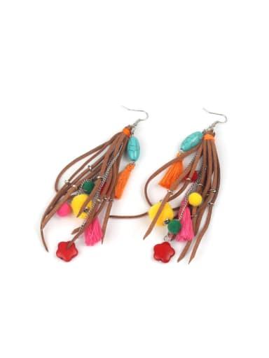Retro Style Colorful Long Tassel Drop Earrings