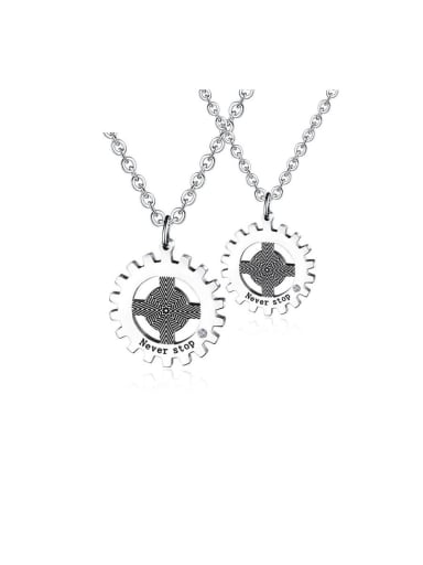 Titanium With Two-color plating  Punk Irregular Gearwheel Necklaces