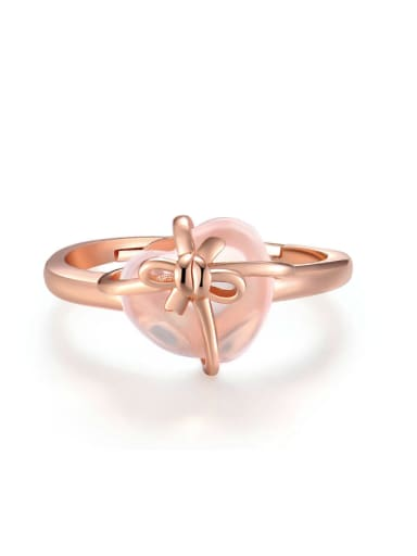 Natural Pink Crystal Heart-shape Rose Gold Plated Ring