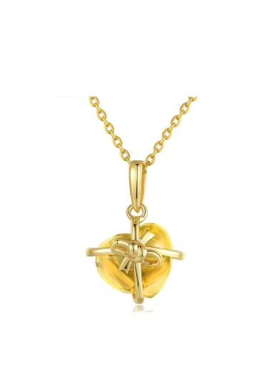 Heart-shape Yellow Crystal Pendant with Gold Plated