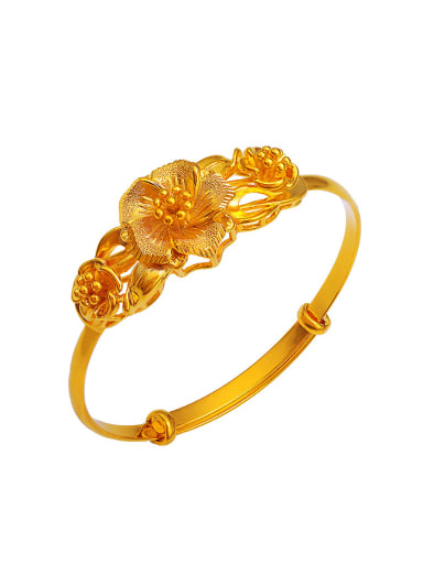 Copper Alloy 24K Gold Plated Classical Flower Bangle