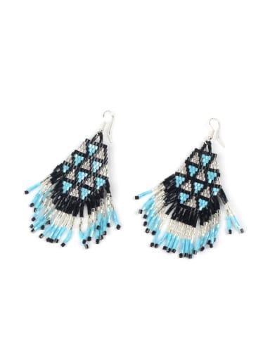Handmade Glass Beads Woven Drop Earrings