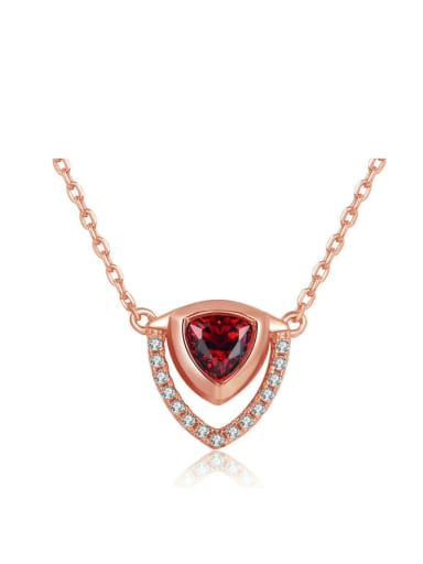 Triangle Shaped Rose Gold Plated Women Necklace