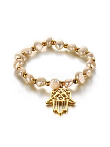 All-match Gold Plated Palm Shaped Freshwater Pearl Bracelet
