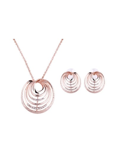 Alloy Rose Gold Plated Fashion Rhinestones Hollow Two Pieces Jewelry Set