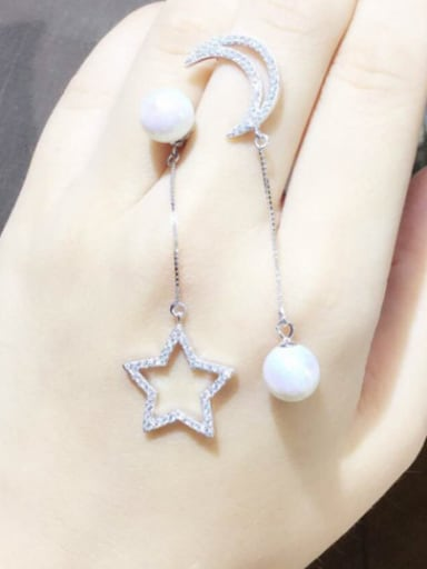S925 Silver Shelll Pearl Star Moon Asymmetric drop earring