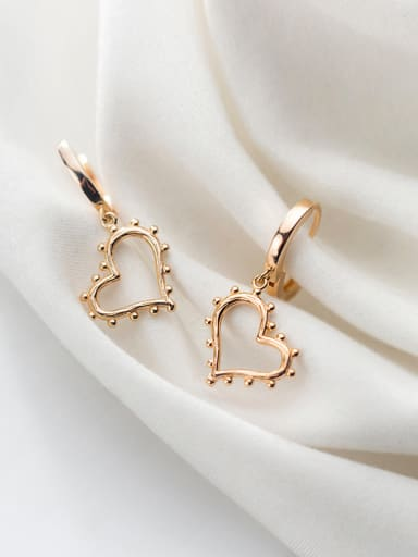 925 Sterling Silver With Gold Plated Simplistic Heart Clip On Earrings