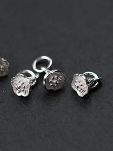 925 Sterling Silver With Silver Plated Lotus flower Charms