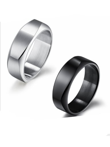 Stainless Steel With Black Gun Plated Simplistic Irregular Rings