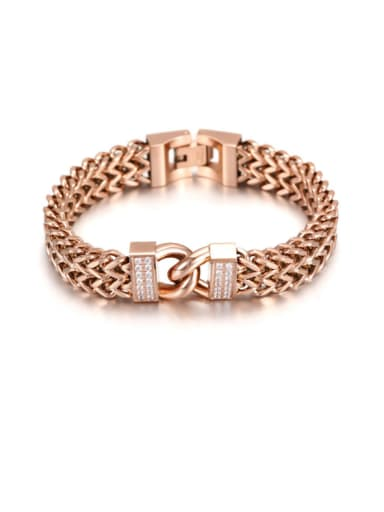 Titanium Steel Double Type Women Rose Gold Bracelet