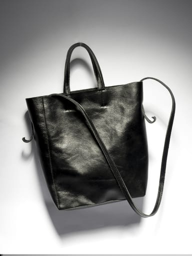 New retro black vegetable tanned leather one shoulder bucket bag