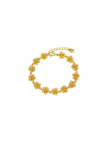 Copper Alloy 24K Gold Plated Ethnic Flower Women Bracelet