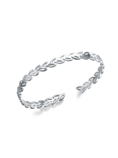 Hollow Leave Shaped S925 Silver Opening Bangle